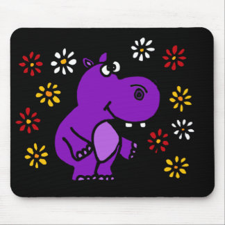 XY- Purple Hippo and Daisies Art Mouse Mat