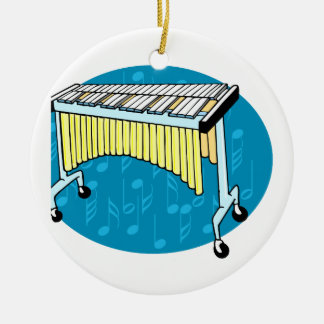 Xylophone graphic with blue background round ceramic decoration