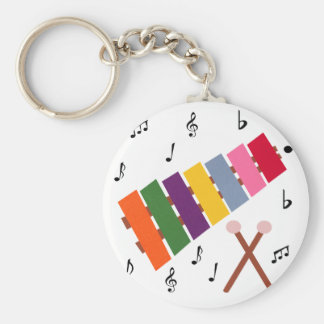 Xylophone Multicolored Musical Instrument Cartoon Basic Round Button Key Ring
