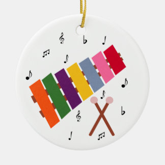 Xylophone Multicolored Musical Instrument Cartoon Christmas Ornament