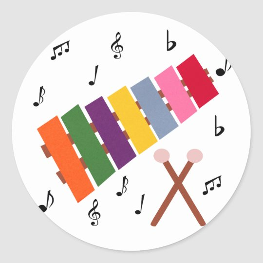 Xylophone Multicolored Musical Instrument Cartoon Classic Round Sticker
