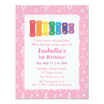 Xylophone Music Themed Birthday Party 11 Cm X 14 Cm Invitation Card