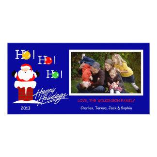 Y1 Ho Ho Ho-Blue Xmas Photo Holiday Cards Photo Greeting Card