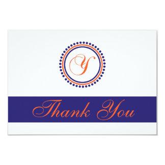 Y Dot Circle Monogam Thank You (Orange/Navy Blue) 9 Cm X 13 Cm Invitation Card