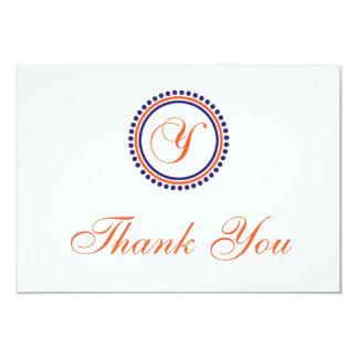Y Dot Circle Monogam Thank You (Orange/Navy Blue) Invite