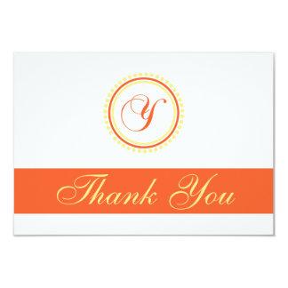 Y Dot Circle Monogam Thank You (Orange / Yellow) Custom Invitation