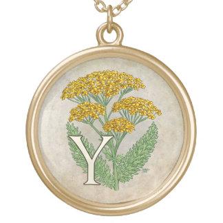 Y for Yarrow Floral Art Alphabet Monagram Necklaces
