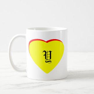 """Y"" Heart Yellow Red Wedding Invitation The MUSEUM Basic White Mug"