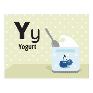 """Y is for Yogurt - Alphabet Flash Card-5.5 x 4.25"""" Postcard"""