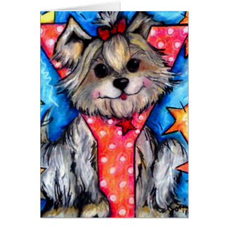 Y is for Yorkie Greeting Card