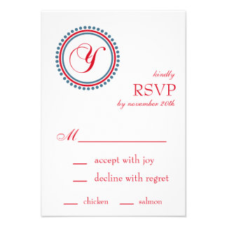 Y Monogram Dot Circle RSVP Cards Red Blue