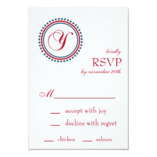 "Y Monogram Dot Circle RSVP Cards (Red / Blue) 3.5"" X 5"" Invitation Card"