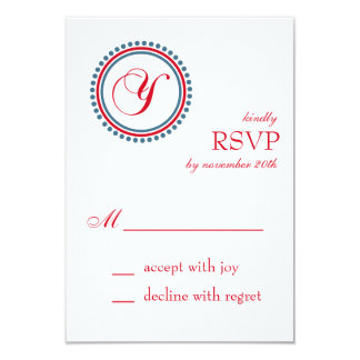 Y Monogram Dot Circle RSVP Cards (Red / Blue) Custom Announcements