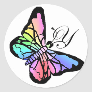 Y~My Spring Butterfly initial Classic Round Sticker