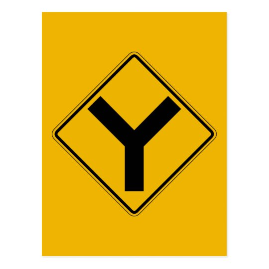 Y-symbol, Traffic Warning Sign, USA Postcard