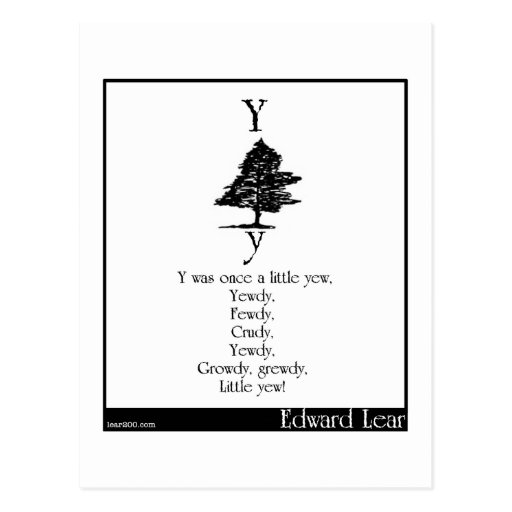 Y was once a little yew postcards