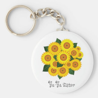 Ya-Ya Sunflower Basic Round Button Key Ring