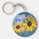 YA-YA Sunflowers Basic Round Button Key Ring