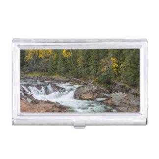 Yaak Falls In Autumn In The Kootenai National Business Card Holder