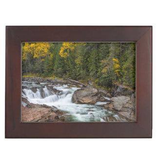 Yaak Falls In Autumn In The Kootenai National Keepsake Box