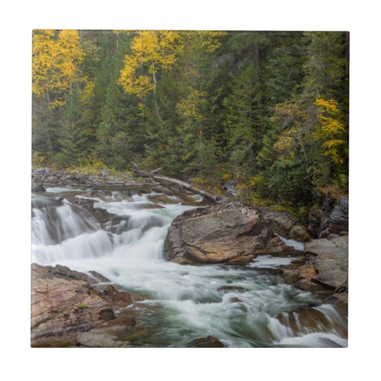 Yaak Falls In Autumn In The Kootenai National Small Square Tile