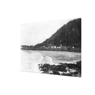 Yachats, Oregon Town View and Ocean Photograph Canvas Print