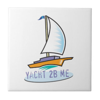 Yacht 2B Me™_logo boat label Small Square Tile