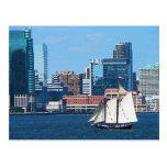 Yacht Against Manhatten Skyline Post Cards