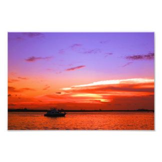 yacht and sunset photo print