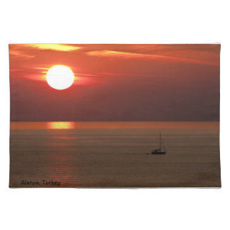 Yacht at sunset placemat