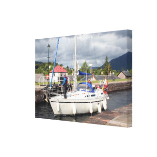Yacht, Caledonian Canal, Scotland Canvas Print