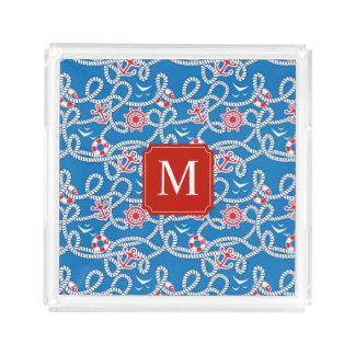 Yacht Club Royal Blue Monogram Acrylic Tray