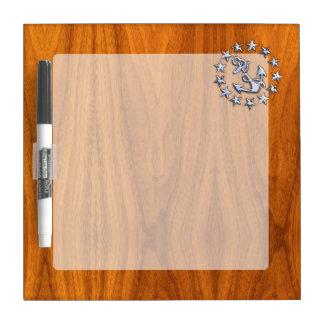 Yacht Flag Symbol on Nautical Teak Wood Print Dry Erase Board