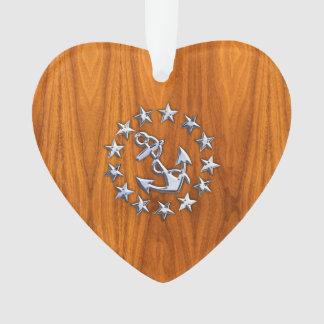 Yacht Flag Symbol on Nautical Teak Wood Print Ornament