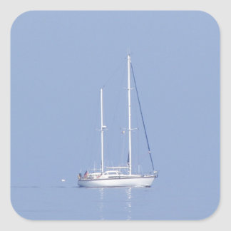 Yacht In The Mist Square Sticker