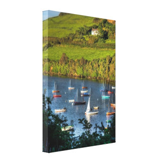Yacht Moorings on the River Avon at Bantham Canvas Print