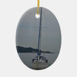 Yacht Motoring Ceramic Oval Decoration