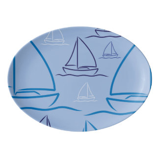 Yacht pattern porcelain serving platter