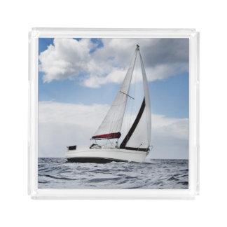 Yacht Sailing In Open Sea Acrylic Tray