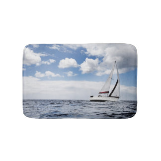 Yacht Sailing In Open Sea Bath Mat