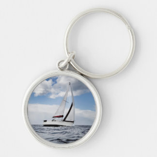 Yacht Sailing In Open Sea Key Ring
