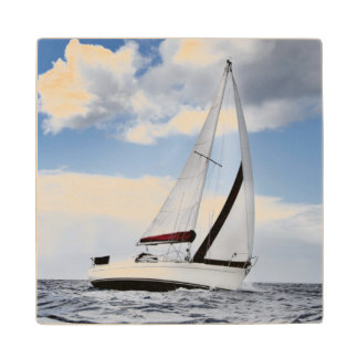 Yacht Sailing In Open Sea Maple Wood Coaster