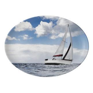 Yacht Sailing In Open Sea Porcelain Serving Platter