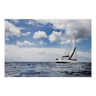 Yacht Sailing In Open Sea Poster