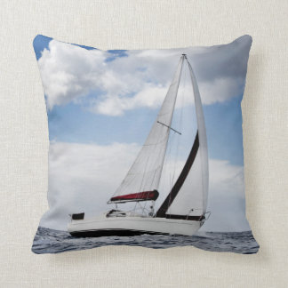Yacht Sailing In Open Sea Throw Pillow