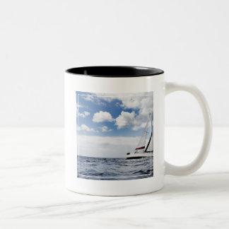 Yacht Sailing In Open Sea Two-Tone Coffee Mug