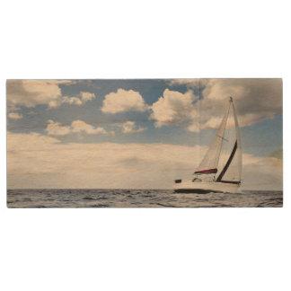 Yacht Sailing In Open Sea Wood USB Flash Drive