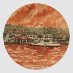 yacht saltwater fishing boat painting round stickers
