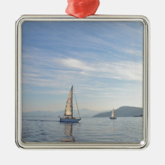 Yacht Shady Lady Silver-Colored Square Decoration