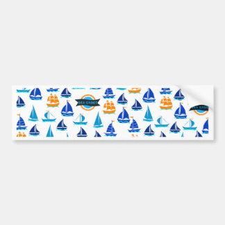 Yacht Ship Boat Nautical Sea Pattern Bumper Sticker